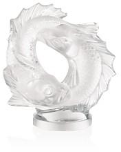 Lalique Large Clear Double Fish Sculpture