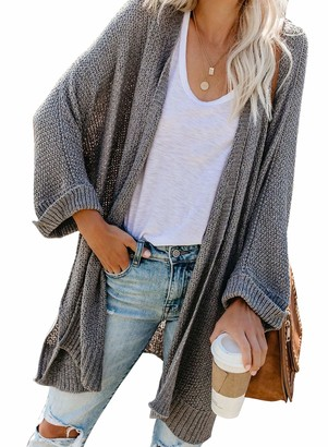 GOSOPIN Womens Knitted Cable Sweater Classic Drape Open Front Cardigans Lightweight Outwear Jacket Casual Thin Coat Grey UK 12