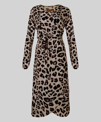 Cellabie CELLABIE Women's Casual Dresses Brown - Brown Leopard Belted Tulip-Hem Wrap Dress - Women