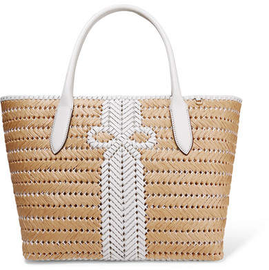 Anya Hindmarch Nesson Woven Leather And Straw Tote - Neutral