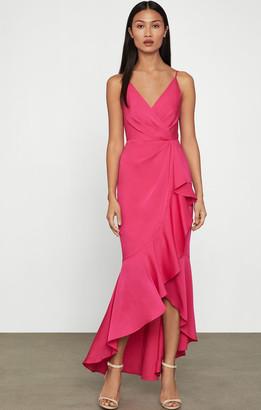 BCBGMAXAZRIA Faux Wrap Ruched Ruffle Dress