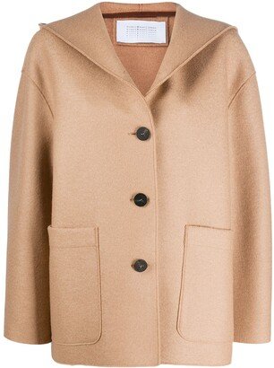 Harris Wharf London Single-Breasted Hooded Coat