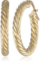 Amazon Collection 14k Gold Italian Fancy Twisted 15 mm Hoop Earrings