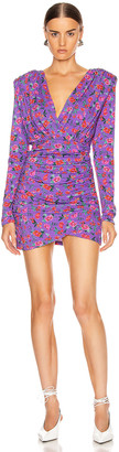 ANDAMANE Colette Gathered Mini Dress in Floral Multi Lilac | FWRD