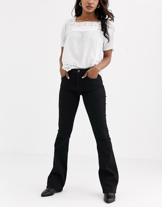Pieces flared jeans in black