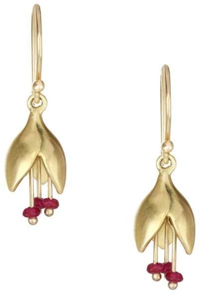 Annette Ferdinandsen Ruby & 14K Yellow Gold Flower Bud Drop Earrings