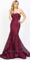 Mac Duggal Textured Mermaid Strapless Evening Gown