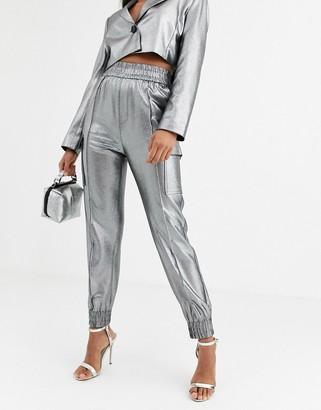 Asos DESIGN metallic utility suit pants
