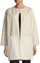 Lafayette 148 New York Ashlynn Waffle-Knit Coat, Brown Pattern