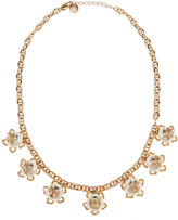 """Tory Burch Golden/White Pearlescent Logo Necklace, 20""""L"""
