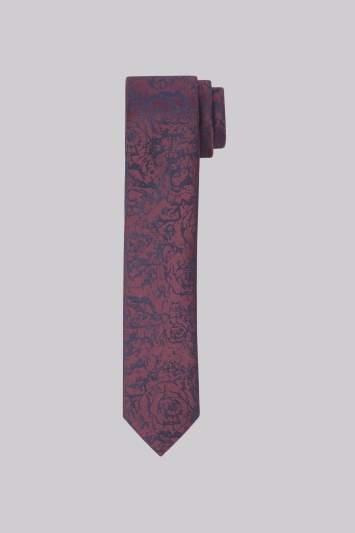 Moss Bros Navy & Wine Floral Skinny Tie