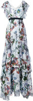 Erdem long tiered ruffle dress - women - Silk - 12