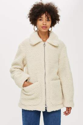 Topshop Womens Cream Borg Zip Up Jacket - Cream
