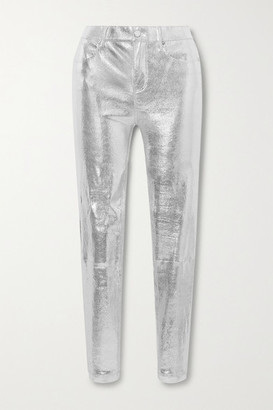 RtA Kiki Metallic Snake-effect Leather Skinny Pants - Silver