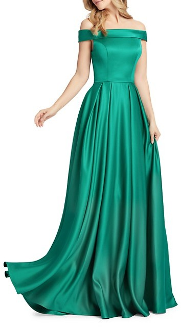 Thumbnail for your product : Mac Duggal Off-The-Shoulder Mikado Pleated Gown