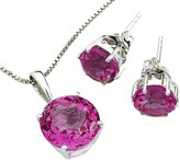 Anderson & Webb Pink Rhodalite Collection Set In Sterling Silver 13mm Pendant And Earrings