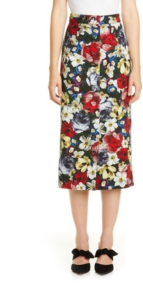 Erdem Poppy Print Button Front Midi Skirt