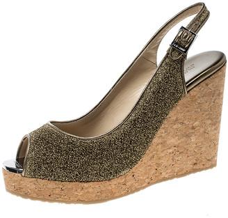 Jimmy Choo Metallic Gold Lurex Prova Slingback Cork Wedge Sandals Size 41