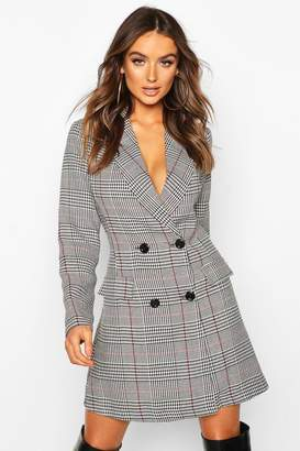 boohoo Check Double Breasted Button Blazer Dress