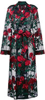 Adam Selman oversized rose embroidered tulle trench coat