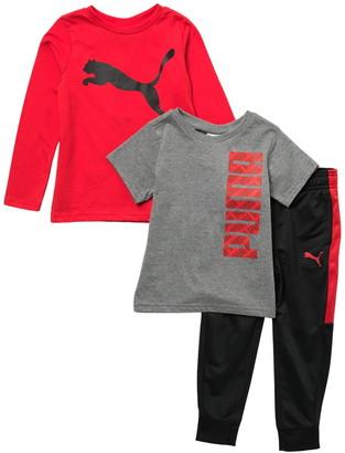 Puma Long Sleeve T-Shirt, Short Sleeve T-Shirt & Joggers Track Set