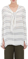 Proenza Schouler Women's Striped Gauze V-Neck Top-WHITE