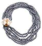 Kenneth Jay Lane 6 Rows Faux-Pearl Flower Necklace