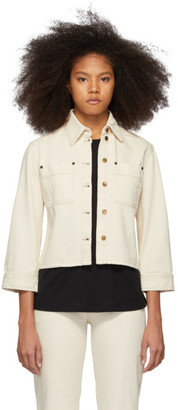 Victoria Victoria Beckham Off-White Denim Cropped Sleeve Jacket