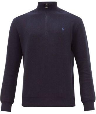 Polo Ralph Lauren Quarter Zip Waffle Knit Pima Cotton Sweatshirt - Mens - Navy