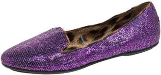 Roberto Cavalli Glitter Fabric Slip On Loafers Size 36