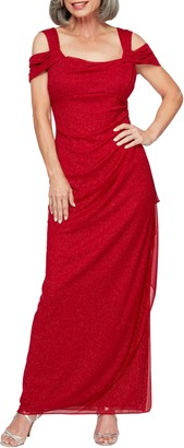 Alex Evenings Cold Shoulder Ruffle Glitter Gown