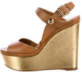 Louis Vuitton Leather Metallic Wedge Sandals