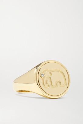 Yvonne Léon 9-karat Gold Diamond Signet Ring - 7