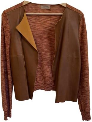 Falconeri Orange Leather Jacket for Women