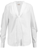 Temperley London Sunray Ruffled Tie-Neck Cotton Shirt