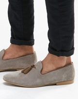 Asos Tassel Loafers In Grey Suede With Natural Sole