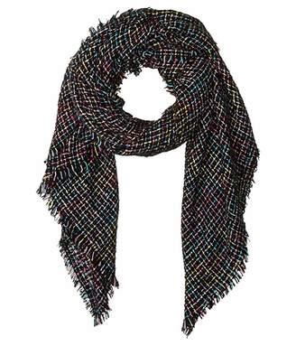 Betsey Johnson Slubby Nubby Blanket Wrap (Black) Scarves