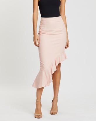 Santina Nicole Tropea Asymmetric Linen-Blend Skirt