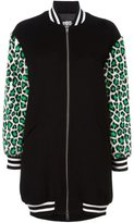 Jeremy Scott leopard sleeves bomber jacket