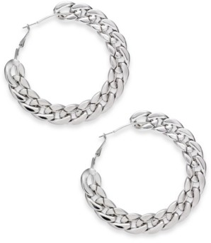 "Thalia Sodi Silver-Tone Extra-Large Chain Link Hoop Earrings, 3.2"" Created for Macy's"