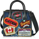 DSQUARED2 Denim Destroyed and Black Leather Tote Bag w/Patches
