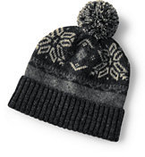 Lands' End Mens Chunky Knit Hat-Cameo Gray Stripe