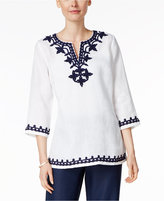 Charter Club Linen Embroidered Top, Only at Macy's