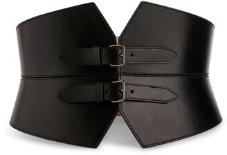 Alaia Leather Double-Buckle Corset Belt