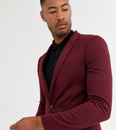 Asos Design DESIGN Tall super skinny jersey blazer in burgundy