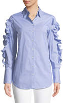philosophy Striped Woven Button-Down Blouse w/ Ruffle & Tie Details
