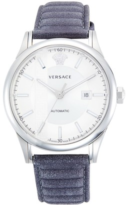Versace Stainless Steel Leather-Strap Automatic Watch