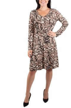 NY Collection Long Sleeve Pleated Front Dress