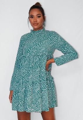 Missguided Tall Green Dalmatian Print High Neck Tiered Smock Dress
