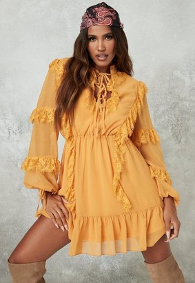 Missguided Yellow Lace Detail Smock Dress